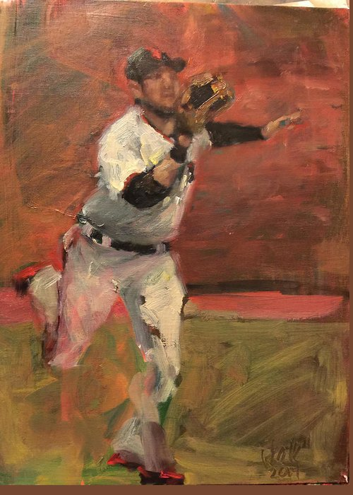 Gregor Blanco Greeting Card featuring the painting White Shark Snatch by Darren Kerr
