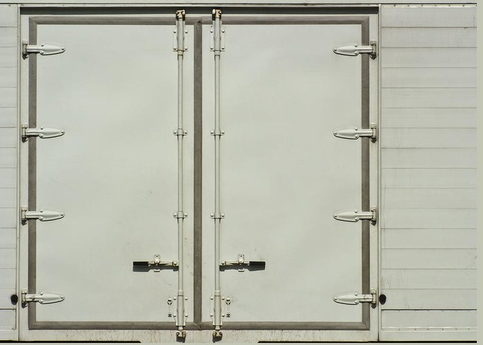 Auto Greeting Card featuring the photograph White Side Door Of Container Truck by Ammar Mas-oo-di