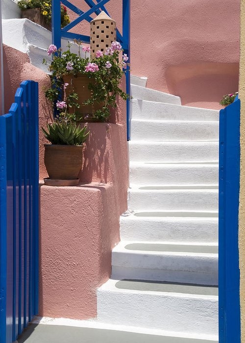 Vertical Greeting Card featuring the photograph White Stairs by Jim Wallace