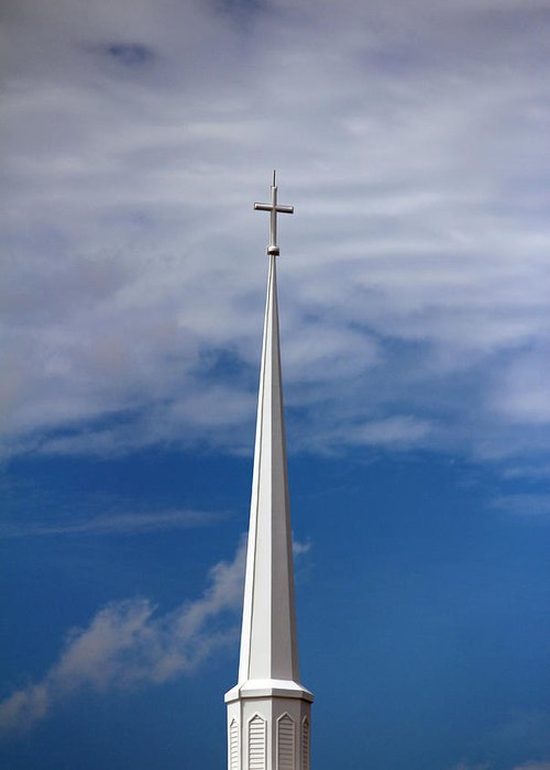 Steeple Greeting Card featuring the photograph White Steeple by Cynthia Guinn