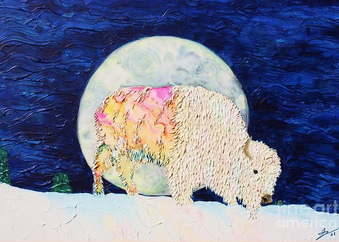 White Buffalo Greeting Card featuring the painting White Tatanka by Van David