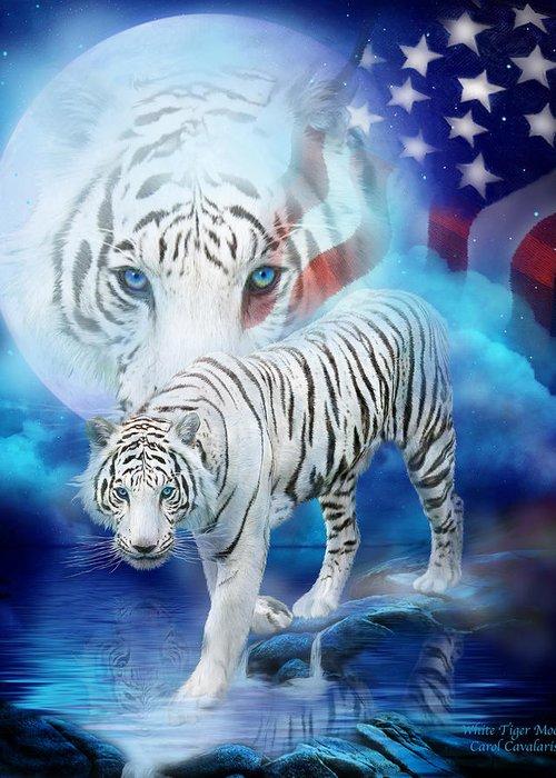 Carol Cavalaris Greeting Card featuring the mixed media White Tiger Moon - Patriotic by Carol Cavalaris