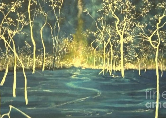 Spiritual Greeting Card featuring the painting White Trees In The Blue Woods by Stefan Duncan