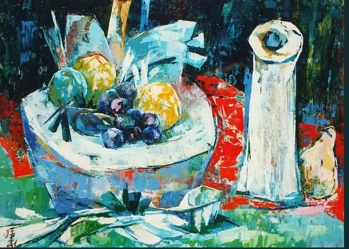 Vase Greeting Card featuring the painting White Vase And Bowl by Siang Hua Wang