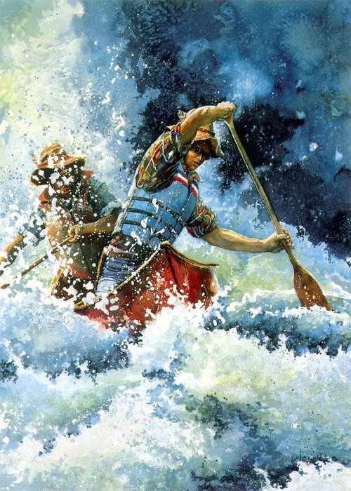 Sports Artist Greeting Card featuring the painting White Water by Hanne Lore Koehler