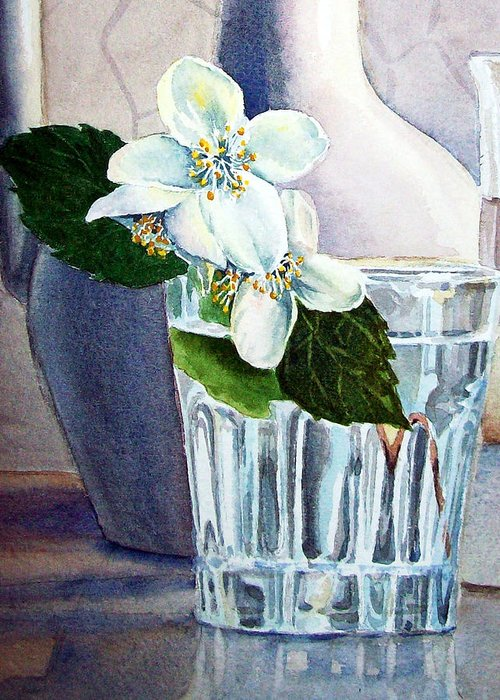 White Greeting Card featuring the painting White White Jasmine by Irina Sztukowski