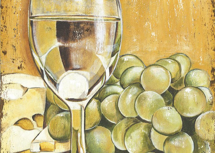 White Wine Greeting Card featuring the painting White Wine And Cheese by Debbie DeWitt