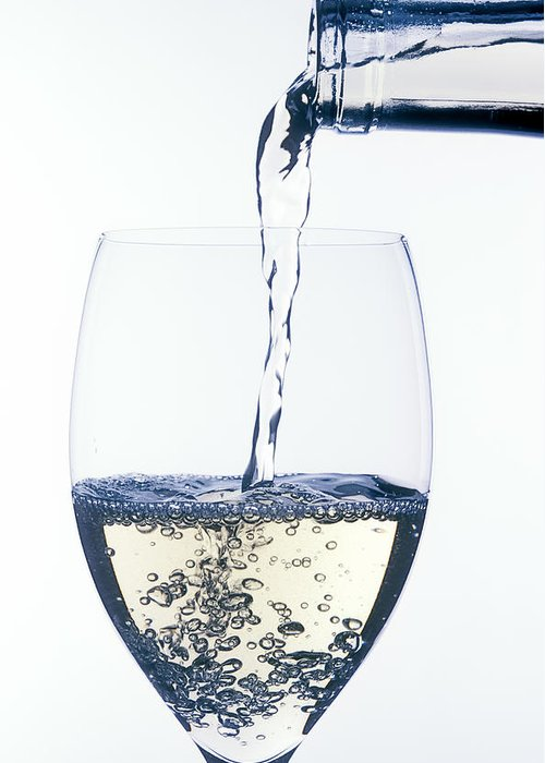 White Greeting Card featuring the photograph White Wine Pouring by Garry Gay
