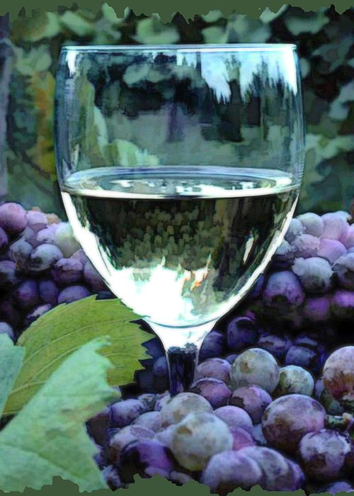 Wine Greeting Card featuring the painting White Wine Reflections by Elaine Plesser