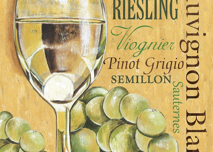 Wine Greeting Card featuring the painting White Wine Text by Debbie DeWitt