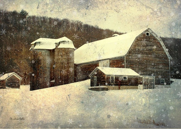 Winter Greeting Card featuring the mixed media White Winter Barn by Christina Rollo
