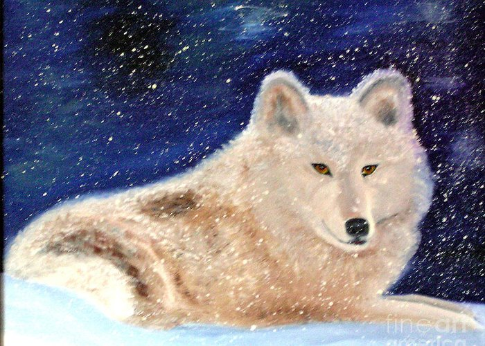 Wolf Greeting Card featuring the painting White Wolf In Winter Blizzard by Lora Duguay