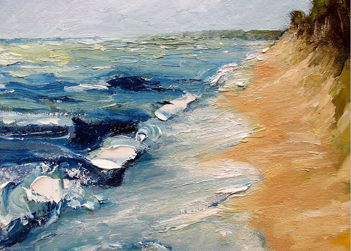 Whitecaps Greeting Card featuring the painting Whitecaps On Lake Michigan 3.0 by Michelle Calkins