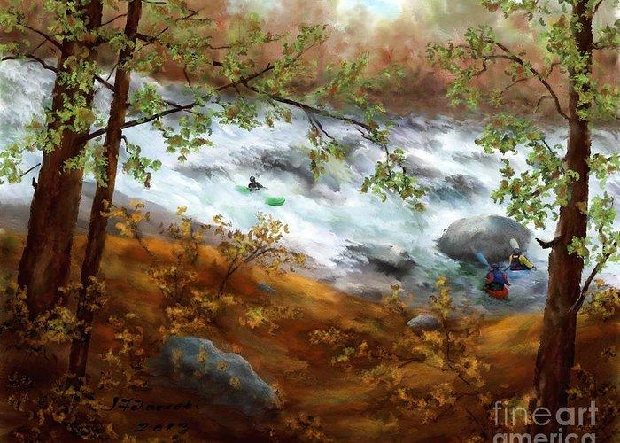 Whitewater Kayaking Greeting Card featuring the painting Whitewater Kayaking by Judy Filarecki