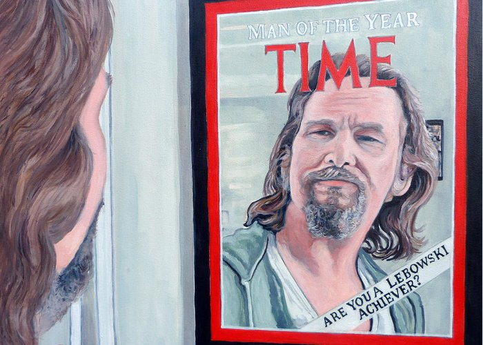 The Dude Greeting Card featuring the painting Who Is This Guy by Tom Roderick