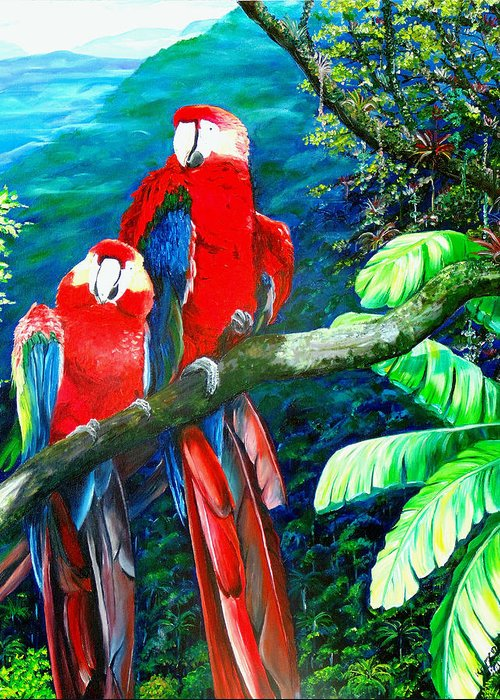 Caribbean Painting Green Wing Macaws Red Mountains Birds Trinidad And Tobago Birds Parrots Macaw Paintings Greeting Card  Greeting Card featuring the painting Who Me  by Karin Dawn Kelshall- Best