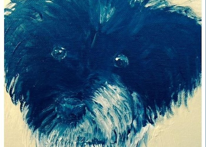 Dog Greeting Card featuring the painting Who Me by Om Art Studio Dean Walther