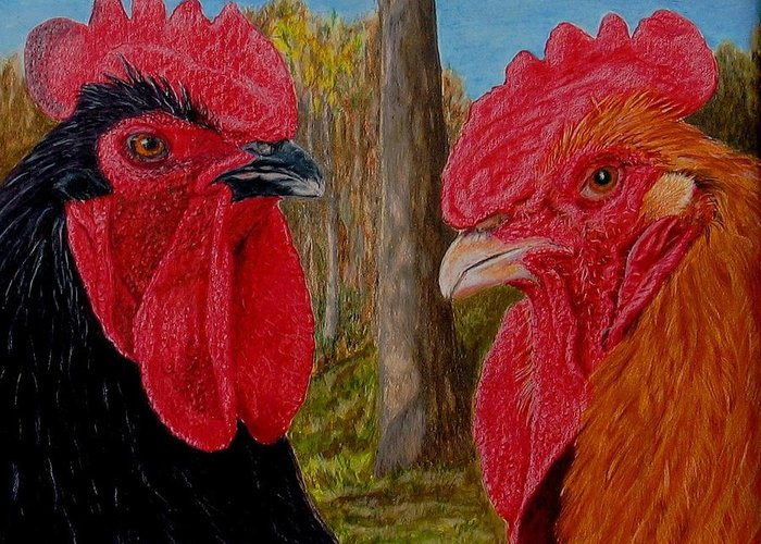 Roosters Greeting Card featuring the painting Who You Calling Chicken by Karen Ilari
