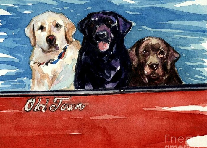 Labrador Retrievers Greeting Card featuring the painting Whole Crew by Molly Poole