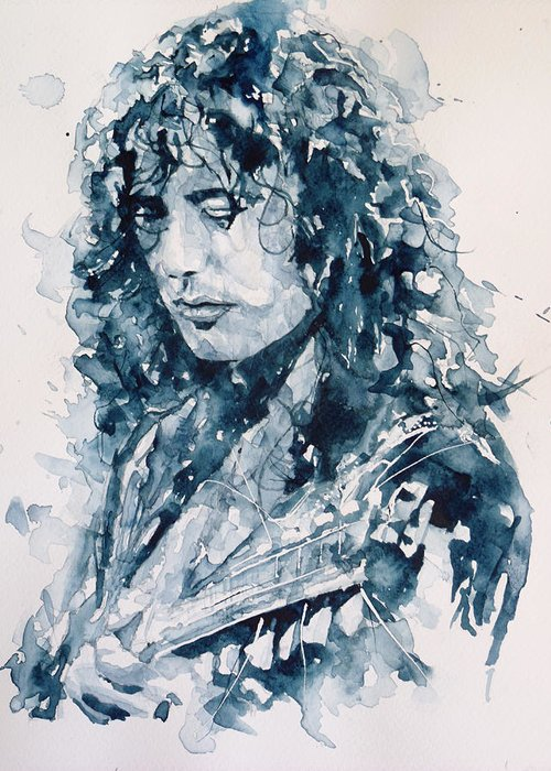 Led Zeppelin Greeting Card featuring the painting Whole Lotta Love Jimmy Page by Paul Lovering
