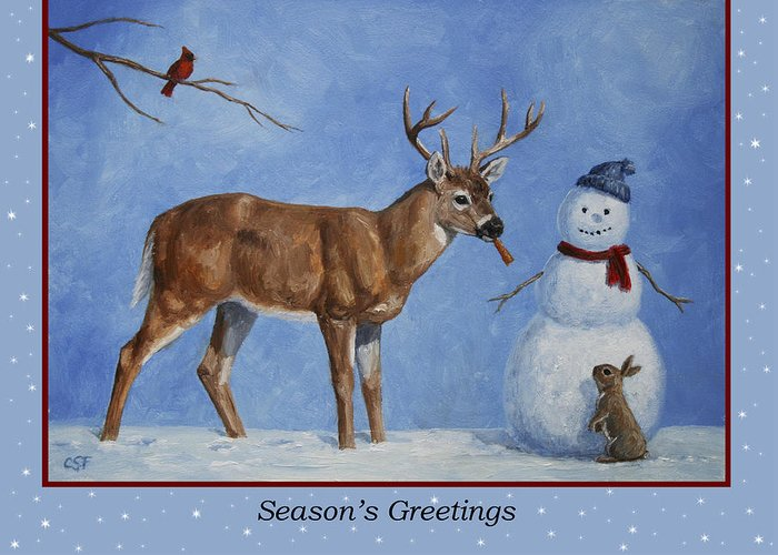 Deer Greeting Card featuring the painting Whose Carrot Seasons Greeting by Crista Forest