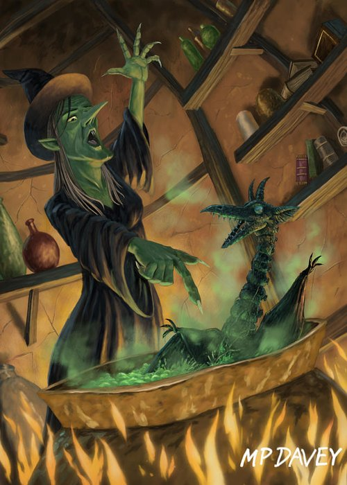 Witch Greeting Card featuring the painting Wicked Witch Casting Spell by Martin Davey
