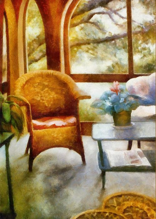 Interior Greeting Card featuring the painting Wicker Chair And Cyclamen by Michelle Calkins