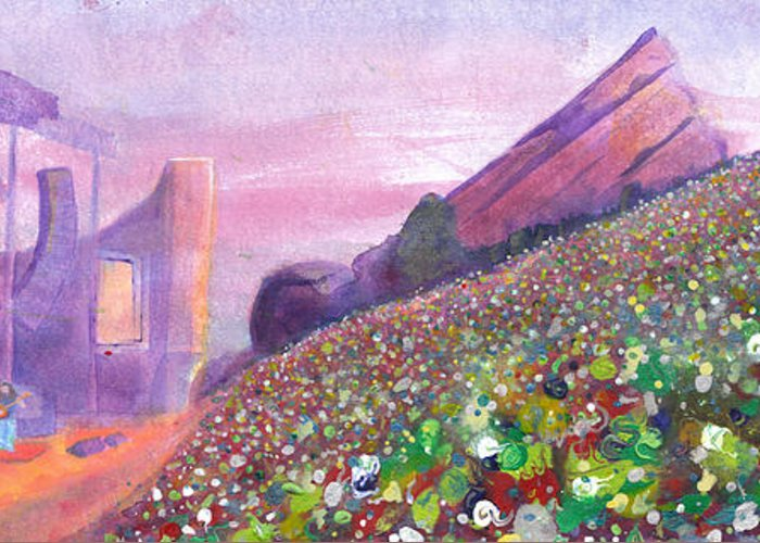 Widespread Panic Greeting Card featuring the painting Widespread Panic At Redrocks by David Sockrider