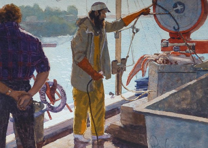 Harbour Greeting Card featuring the painting Wieghing The Catch Graymouth by Terry Perham