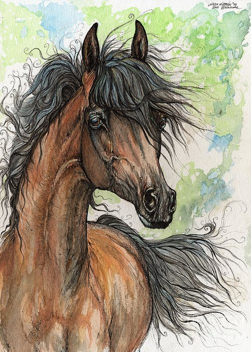 Horse Greeting Card featuring the painting Wieza Wiatrow Polish Arabian Mare Watercolor Painting by Angel Ciesniarska
