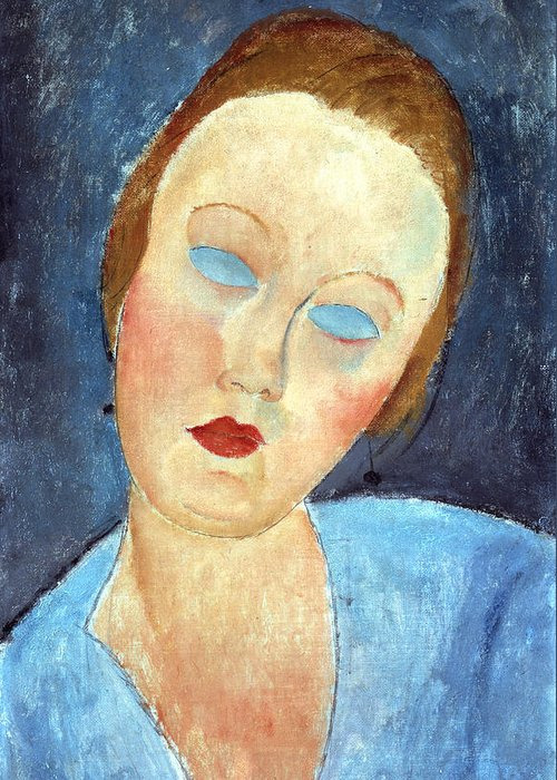 Portrait Greeting Card featuring the painting Wife Of The Painter Survage by Amedeo Modigliani