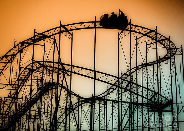 Rollercoaster Greeting Card featuring the photograph Wild At Night by Colleen Kammerer