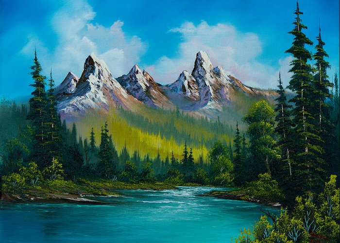 Landscape Greeting Card featuring the painting Wild Country by C Steele