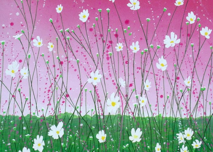 Abstract Greeting Card featuring the painting Wild Daisy Field by Herb Dickinson
