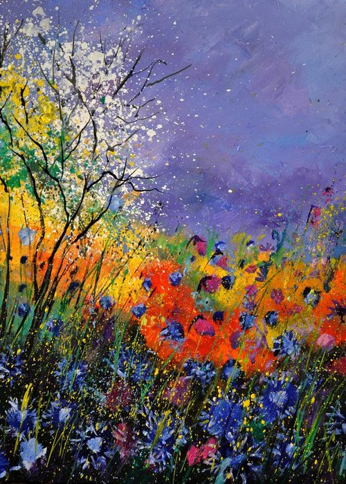 Landscape Greeting Card featuring the painting Wild Flowers 4110 by Pol Ledent