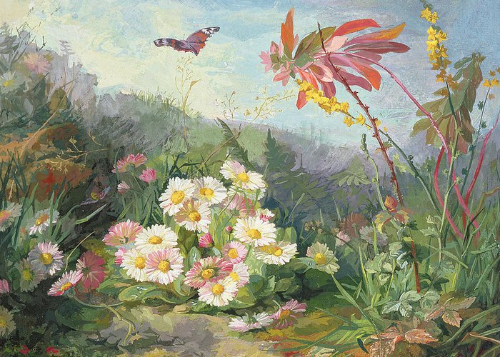 Wild Flowers And Butterfly Greeting Card featuring the painting Wild Flowers And Butterfly by Jean Marie Reignier