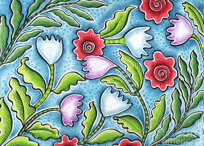 Leafy Greeting Card featuring the painting Wild Flowers by Elaine Jackson
