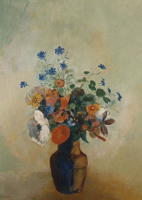 Still Life; Flower; Vase; Arrangement; Redon Greeting Card featuring the painting Wild Flowers by Odilon Redon