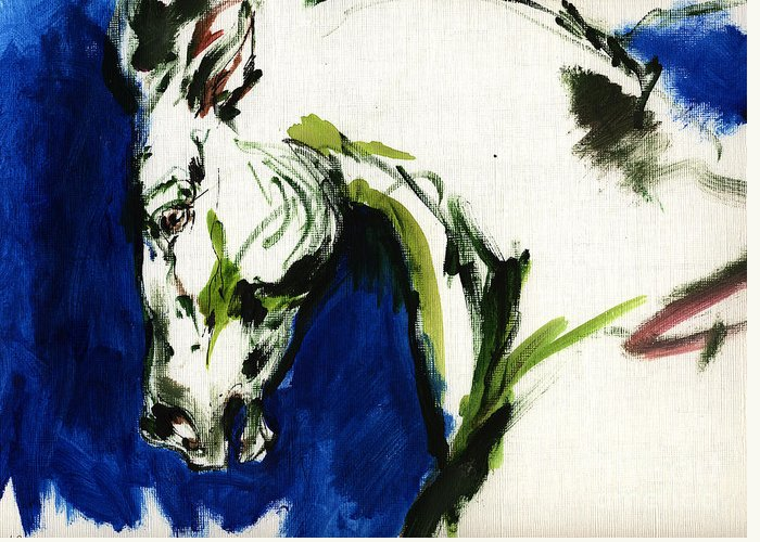 Horse Artwork Greeting Card featuring the painting Wild Horse by Angel Ciesniarska