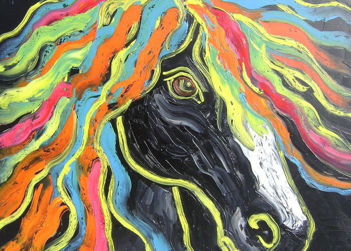 Isabelle Greeting Card featuring the painting Wild horse by Isabelle Gervais