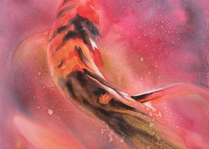 Watercolor Greeting Card featuring the painting Wild Koi by Robert Hooper