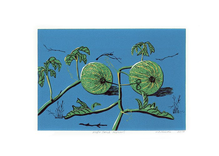 Botanicals Greeting Card featuring the painting Wild Melon by N Ditsheko