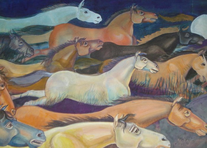 Horses Greeting Card featuring the painting Wild Racers by Prasenjit Dhar
