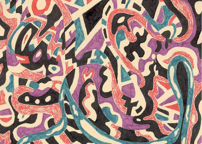 Wild Tribal Abstract Drawing Original Red Cream Black Teal Blue Purple Pattern Movement Rlmdesignes Greeting Card featuring the drawing Wild by Rebekah McLeod