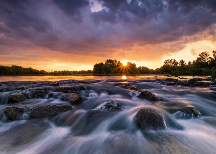 Landscape Greeting Card featuring the photograph Wild River II by Davorin Mance