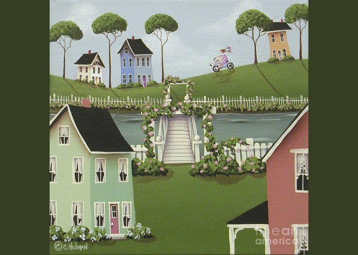 Folk Art Greeting Card featuring the painting Wild Rose Crossing by Catherine Holman