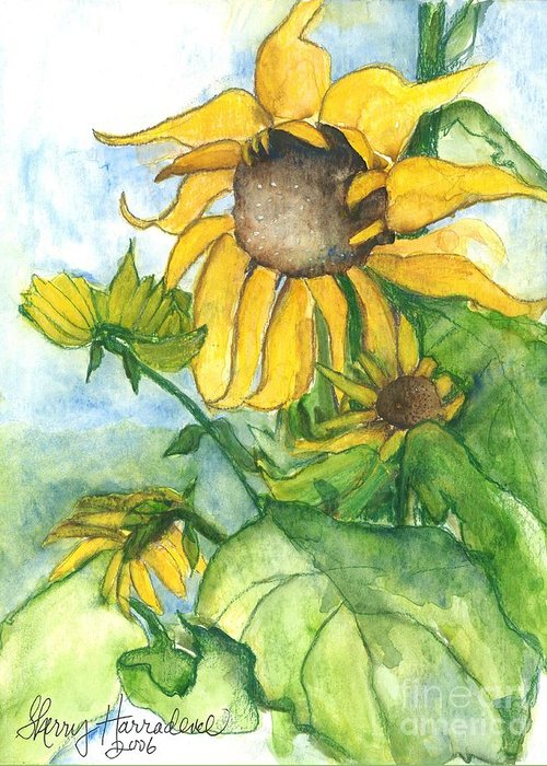 Orchards Greeting Card featuring the painting Wild Sunflowers by Sherry Harradence