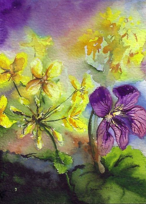 Bonnie Greeting Card featuring the painting Wild Violet by Bonnie Fernandez