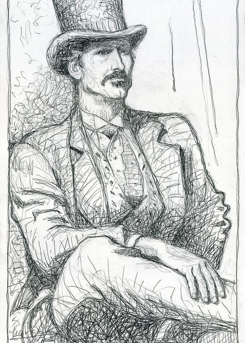 Larson Greeting Card featuring the drawing Wild West Gambler by Greg Larson