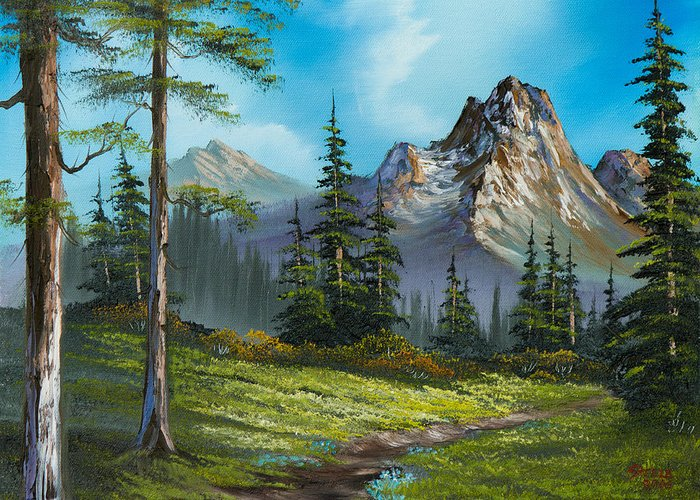 Landscape Greeting Card featuring the painting Wilderness Trail by C Steele